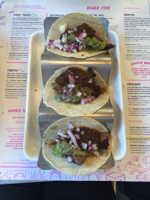 Wahacca grilled British steak tacos